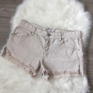 Free People Cream Distressed Cut Off Denim Shorts